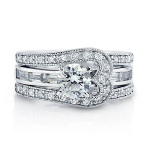 Jewelry - Sterling Silver Round CZ Solitaire Ring Set 2.085